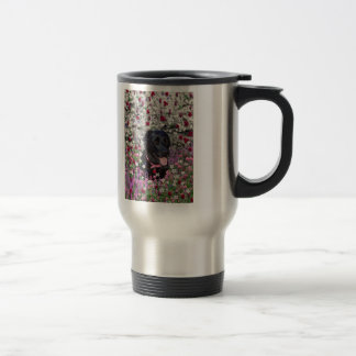 Abby in Flowers – Black Lab Dog Mugs