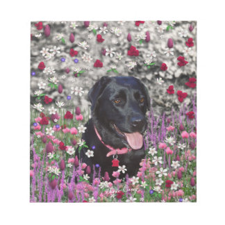 Abby in Flowers – Black Lab Dog Memo Pads