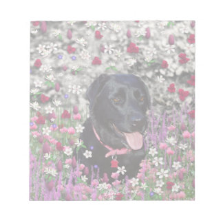 Abby in Flowers – Black Lab Dog Note Pad