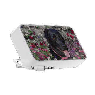 Abby in Flowers – Black Lab Dog Speaker System
