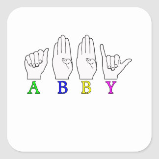 ABBY NAME ASL FINGERSPELLED SIGN SQUARE STICKER
