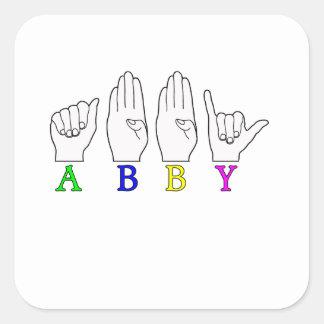 ABBY NAME ASL FINGERSPELLED SIGN STICKER