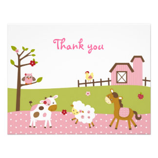 Abby s Farm Girl Farm Animal Thank You Note Cards Personalized Announcement
