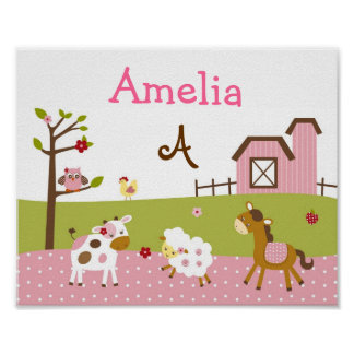 Abby's Farm Animal Nursery Wall Art Name Print