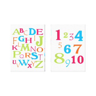 ABC 123 Alphabet Number Pink Orange Lime Turquoise Stretched Canvas Prints