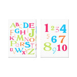 ABC 123 Alphabet Number Pink Orange Lime Turquoise Gallery Wrap Canvas