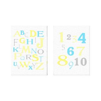 ABC 123 Alphabet Numbers Yellow Aqua Kids Nursery Gallery Wrapped Canvas