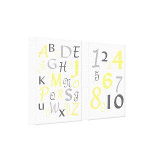 ABC 123 Alphabet Numbers Yellow Gray Kids Nursery Gallery Wrap Canvas