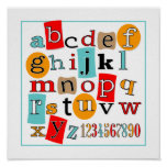 ABC 123 Child's Wall Art Decor Poster