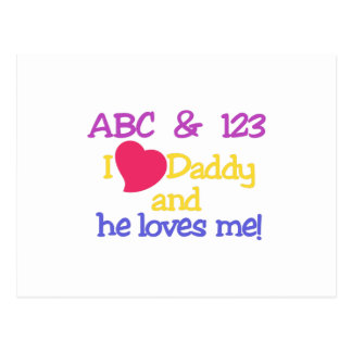 ABC & 123 I Love Daddy & He Loves Me! Postcard