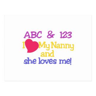 ABC & 123 I My Nanny & She Loves Me! Postcard