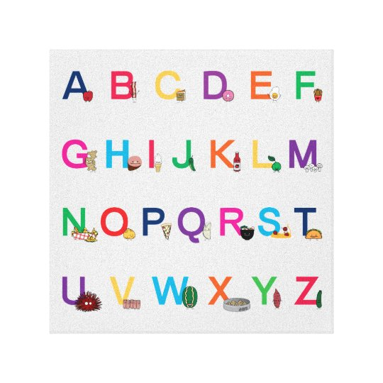 ABC Alphabet learning letters Happy Foods Design Canvas
