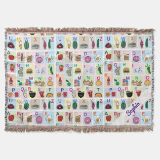 ABC Alphabet learning letters Happy Foods Design Throw Blanket