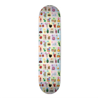 ABC Alphabet learning letters happy foods learn 19.7 Cm Skateboard Deck