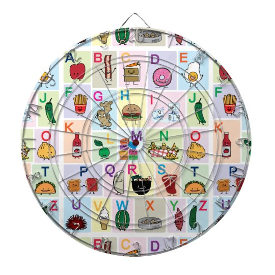 ABC Alphabet learning letters happy foods learn Dartboard