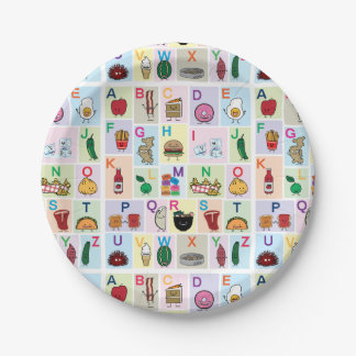 ABC Alphabet learning letters happy foods learn Paper Plate