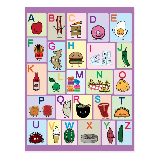 ABC Alphabet learning letters happy foods learn Postcard