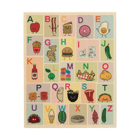 ABC Alphabet learning letters happy foods learn Wood