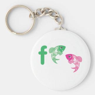 ABC Animals - Fish Basic Round Button Key Ring