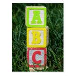ABC Blocks In Grass Postcard