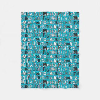 ABC blue Fleece Blanket