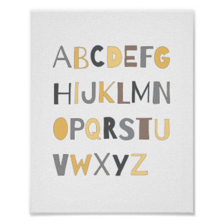 ABC Colorful Alphabet Nursery Art Decor | Boy Poster