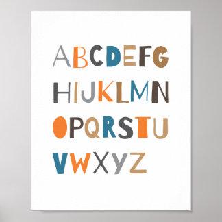 ABC Colorful Alphabet Nursery Art Decor   Boy Poster