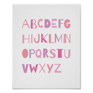 ABC Colorful Alphabet Nursery Art Decor | Girl