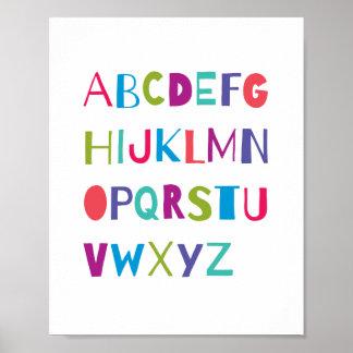 ABC Colorful Alphabet Nursery Art Wall Decor Poster