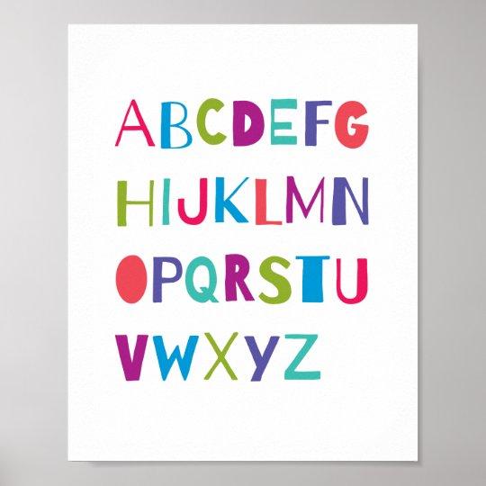 ABC Colourful Alphabet Nursery Art Wall Decor Poster