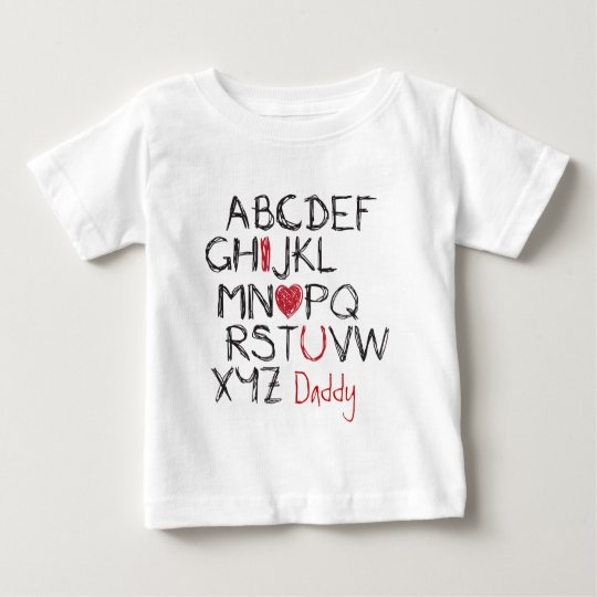 ABC I Heart You Personalised Baby T-Shirt