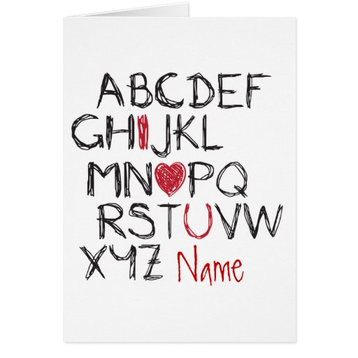 ABC I Heart You Personalised Greeting Card