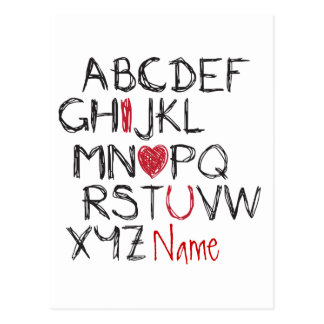 ABC I Heart You Personalised Postcard