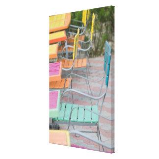 ABC Islands, ARUBA, Palm Beach: Colorful Cafe Canvas Print