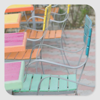 ABC Islands, ARUBA, Palm Beach: Colorful Cafe Square Sticker