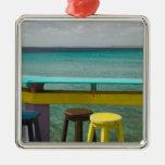 ABC Islands, BONAIRE, Kralendijk: Ocean View Silver-Colored Square Decoration