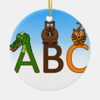 ABC letters cute cartoon animals illustration Christmas Ornament