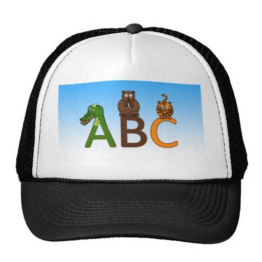 ABC letters cute cartoon animals illustration Trucker Hats