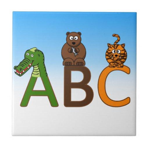 ABC letters cute cartoon animals illustration Tile