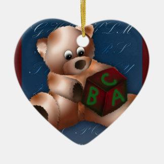 ABC TEDDY BEAR CHRISTMAS ORNAMENT