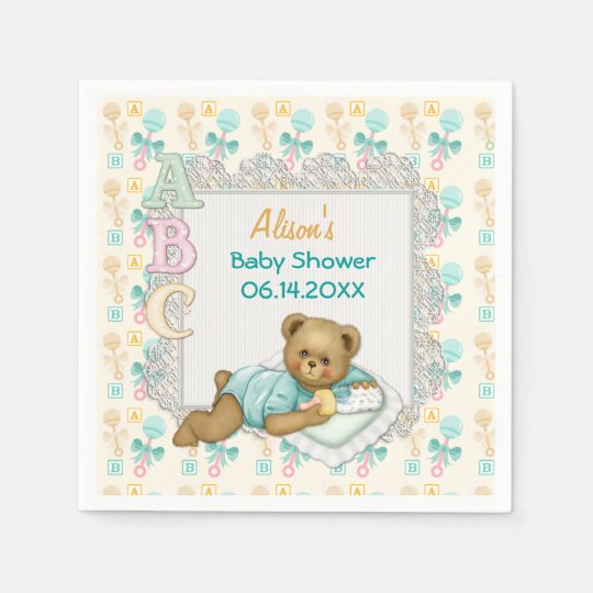 ABC Teddy Peach and Aqua Baby Shower Paper