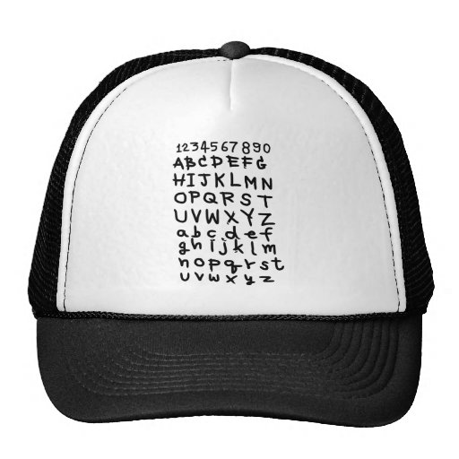 ABC  text  and number Mesh Hats