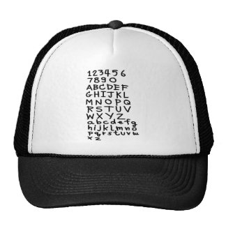 ABC text and number Mesh Hat