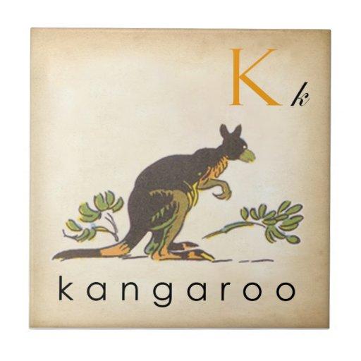 ABC Tiles the Letter K  |  Vintage Style Tiles