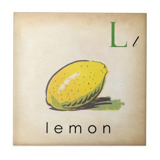 ABC Tiles the Letter L  |  Vintage Style Tiles