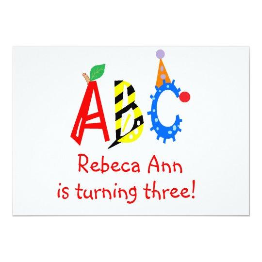 ABC Turning 3 Third Birthday Party Invitaitons Card