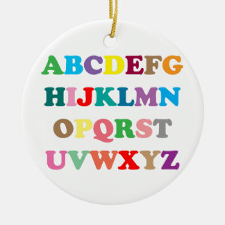 ABC's colorful letters Round Ceramic Decoration
