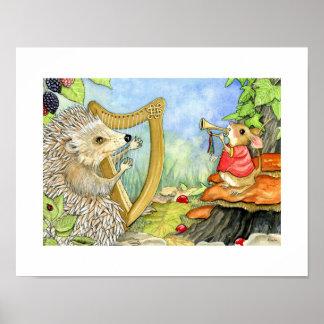 ABC's print - Harcourt Hedgehog and his harp.