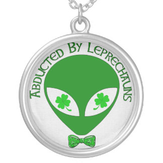 Abducted By Alien Leprechauns Round Pendant Necklace