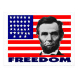 """Abe Lincoln """"Freedom"""" Flag Art Gifts--Unique Postcard"""